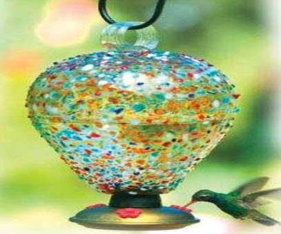 Blown Glass Expensive Hummingbird Feeder