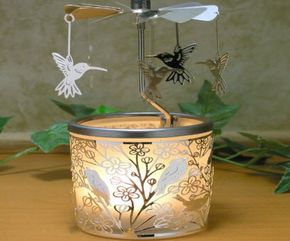 Candle Holder with Spinning Hummingbirds