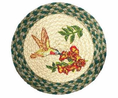 #6: Capitol Earth Rugs 10u201d Primitive Jute Trivet / Table Decor (Hummingbird)
