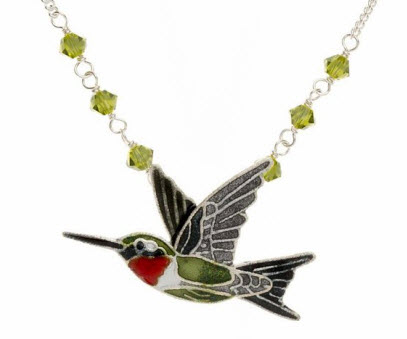 Ruby Throat Hummingbird Necklace