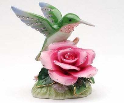 Hummingbird Rose Musical Figurine