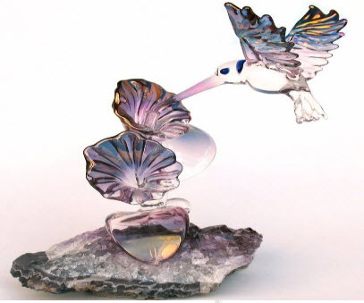 Blown Glass Hummingbird Sculpture
