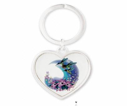 Heart Hummingbird Keychain