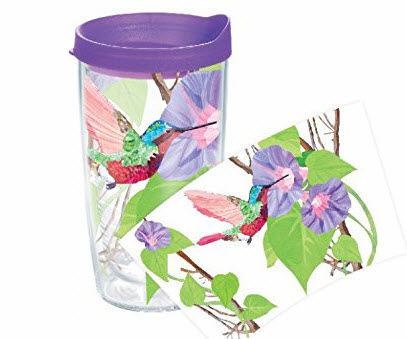 #8: Tervis Hummingbird Wrap Tumbler with Purple Lid, 16-Ounce. Gift Tumbler