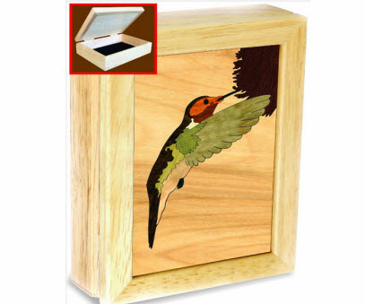Wooden Hummingbird Jewelry Box