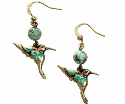 Aqua Hummingbird Dangle Earrings