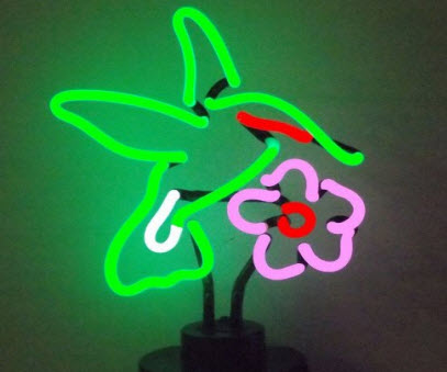 Neon Hummingbird Sculpture
