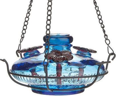 Parasol Aqua Glass Hummingbird Feeder