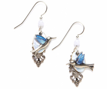 Silver Forest Hummingbird Earrings