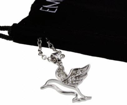 Silver Crystal Hummingbird Necklace