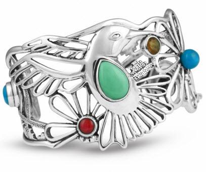 Silver Multi Gemstone Hummingbird Bracelet
