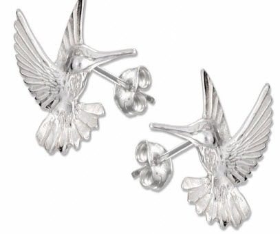 Silver Sterling Hummingbird Earrings