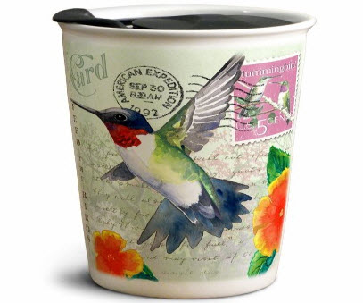 Hummingbird Vintage Travel Mug