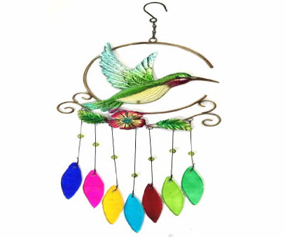 Stained Glass Hummingbird Wind Chimes