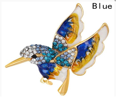 Crystal Hummingbird Brooch