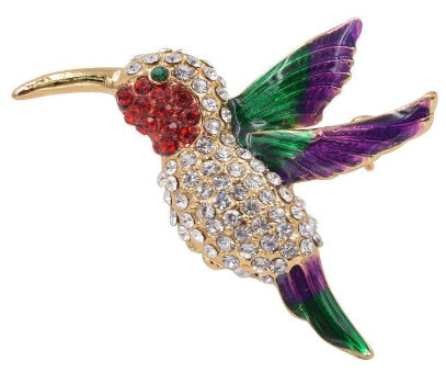 Multicolor Hummingbird Rhinestone Brooch