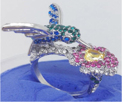 Hummingbird Flower Ring