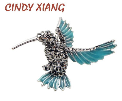 Aristocratic Baby Blue Rhinestone Hummingbird Brooch