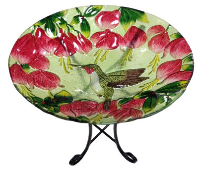 Continental Art Painted Glass Hummingbird Bath