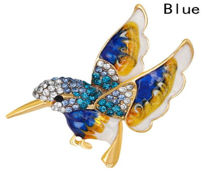 Crystal Hummingbird Pin