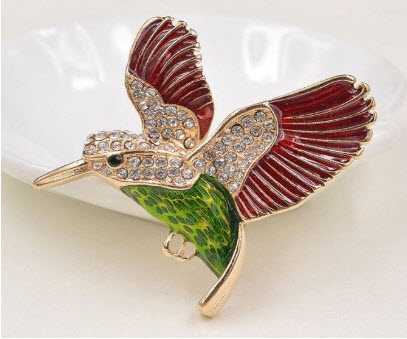 Gold-Plated Multicolor Hummingbird Pin