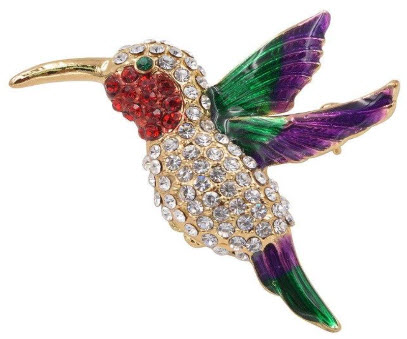 Hummingbird Pin with Multicolor Rhinestones
