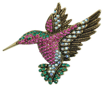 Multicolor Rhinestone Hummingbird Brooch