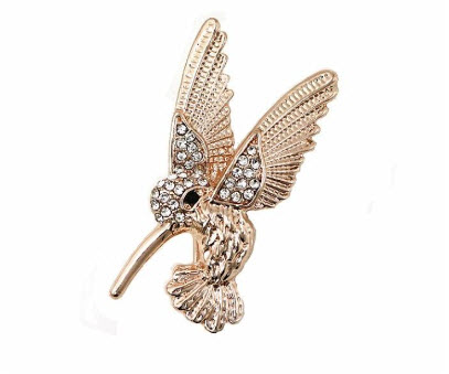 Rose Gold Hummingbird Brooch with White Rhinestones