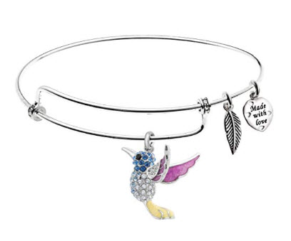 Sterling Hummingbird Adjustable Swarovski