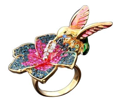 Yupha Fashion Flowers Hummingbird Ring