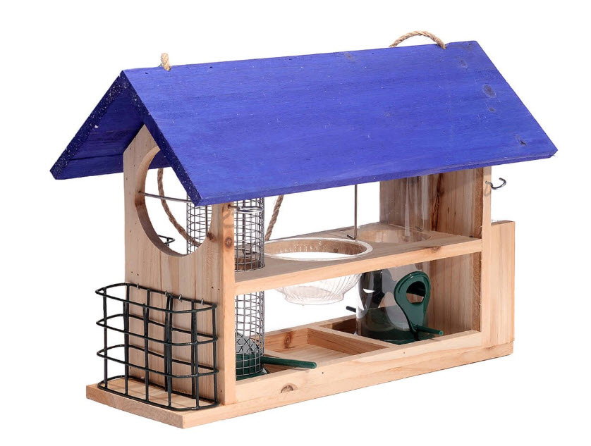 Outside Fun Charming Cedar Wood Deluxe Bird House Feeder