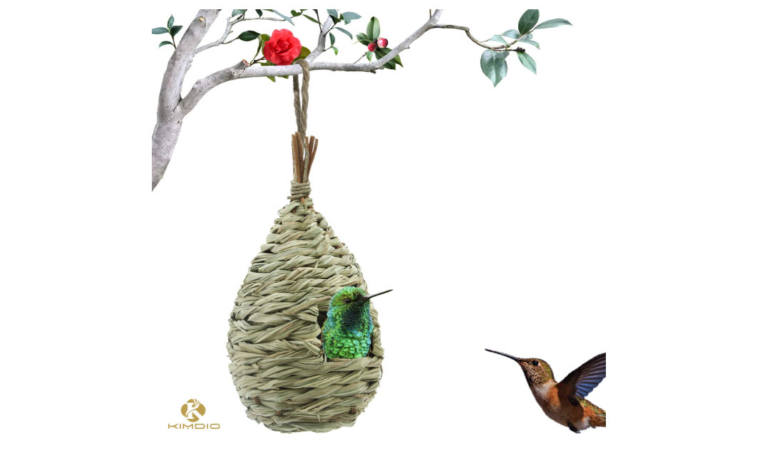 Kimdio Hand Woven Hummingbird Hut For Outside Hanging